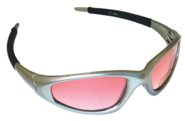 bril SUNGLASSES FUJI SILVER GREY FRAME ROSE TINT LENSES
