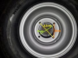 "velg achterwiel quad  staal 8"" 4x110"