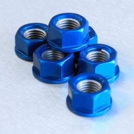 Tandwiel moeren (set 6st) M10x1.25 blue ProBolt