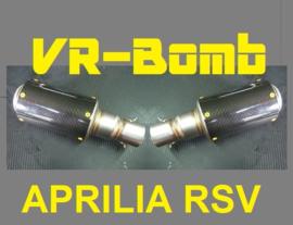 uitlaat Aprilia RSV1000 Mille  2x VR-bomb Carbon