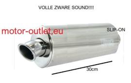 uitlaat Universeel shorty 30 cm aluminium ovaal, gepolijst