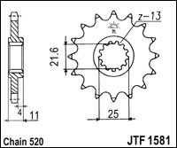 kettingwiel voortandwiel JTF1590.13 SC yamaha YZ YZF 125 - 250