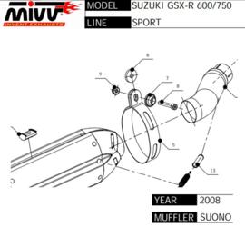uitlaat linkpipe GSXR600/750 08-10 MIVV