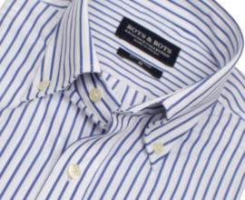 Overhemd 100% katoen, 2 ply, Classic streep, button down kraag, lange mouw, 196074