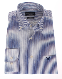 Modisch print overhemd, blauwe streep,  met button down,  100% katoen (196026)