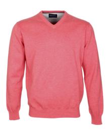 Pullover V-hals, 100% katoen, cerise (194626)