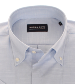 Overhemd korte mouw, linnen-look, slub effect,   100% katoen, uni bleu, Button down