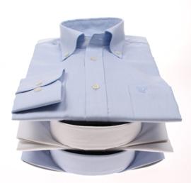 Overhemd 100% katoen, lange mouw, button down kraag, uni wit , 186029