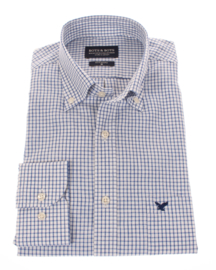 Linnen- overhemd, blauw ruitje, lange mouw, 100% linnen, button down kraag 196021
