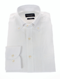 Linnen- overhemd, Wit, lange mouw, 100% linnen, button down kraag 196019