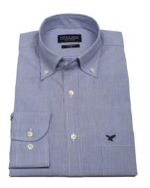 Overhemd 100% katoen, Classic haar streepje, button down kraag, lange mouw, (196068)