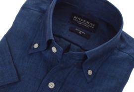 Overhemd 100% linnen, navy, button down, korte mouw 207004