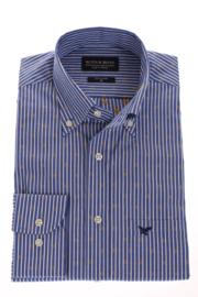 Overhemd 100% katoen, button down kraag, blauw streepje met dobby, 186019