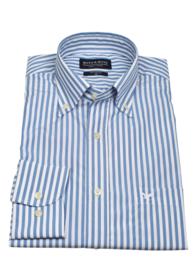 Overhemd korte mouw, 100% katoen, 2 ply, button down kraag,  blue, (196061)