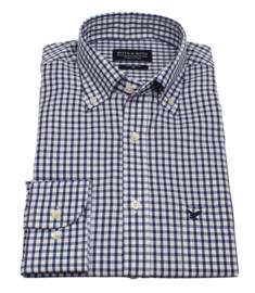 Overhemd 100% katoen, 2 ply, button down kraag, blauw ruitje, (196059)