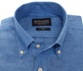 Overhemd 100% puur linnen, jeans blauw, button down kraag, lange mouw 206003