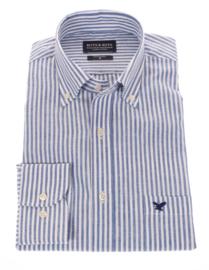 Linnen- overhemd, blauw gestreept, lange mouw, 100% linnen, button down kraag 196020