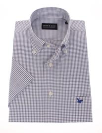 Overhemd korte mouw, 100% katoen, Button down, classic navy ruitje