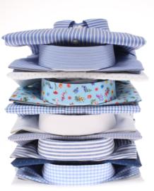 Overhemd korte mouw, 100% katoen, button down kraag, blauw streepje, 197038