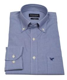 Overhemd korte mouw, 100% katoen, button down kraag, ruitje blue, (196073)