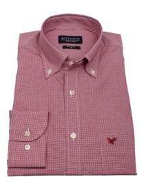 Overhemd 100% katoen, classic ruitje, red, button down kraag, lange mouw, (196072)