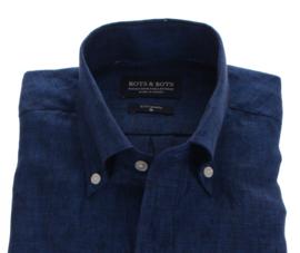 Overhemd 100% puur linnen, navy blauw, button down kraag, lange mouw 206004