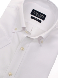 Overhemd 100% katoen, uni wit, button down kraag, korte mouw.  (187029)