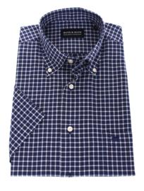 Overhemd korte mouw,  70% cotton 30% linnen, blauw ruitje, Button down kraag
