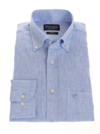 Overhemd 100% puur linnen, light blue, button down kraag, lange mouw 206002