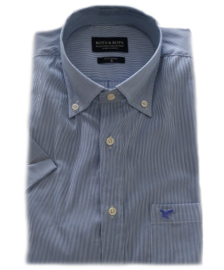Overhemd 97% katoen, 3% elastane, blauw streepje, button down, korte mouw 217017
