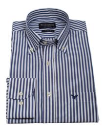 Overhemd 100% katoen, 2 ply, button down kraag, blauw ruitje, 196062