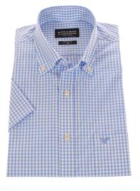 Overhemd 100% katoen, korte mouw, blauw ruitje, button down kraag (197042