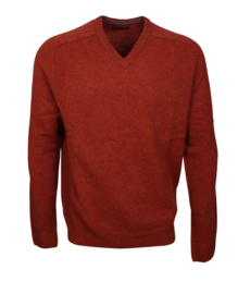 Pullover V-hals, roest, 100% Schotse Lamswol (20005)