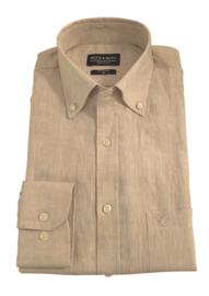Linnen- overhemd, beige, lange mouw, 100% linnen, button down kraag 196030