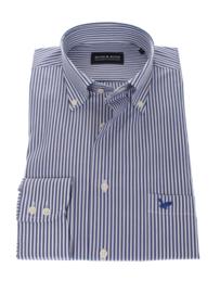Overhemd 97% katoen & 3% lycra, lange mouw, button down, classic blauwe streep