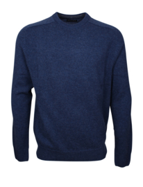 Pullover ronde-hals, denim, 100% originele Schotse lamswol (20010)