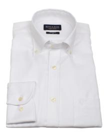Overhemd 100% katoen, 2 ply, uni wit , button down kraag, lange mouw, (196065)