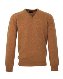 Pullover V-hals, oker, 100% originele Schotse Lamswol (20003)
