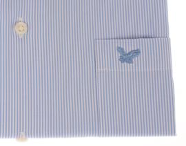 Overhemd korte mouw, 100% katoen, Button down, fijn classic blue streepje