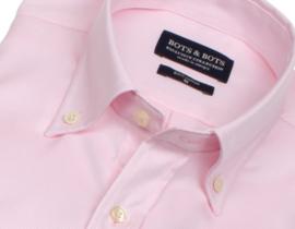 Overhemd 100% katoen, button down kraag, uni pink, visgraat (196075)