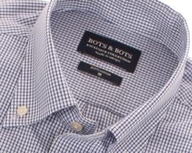 Overhemd korte mouw, 100% katoen, button down kraag, ruitje blauw, 197035