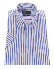 Overhemd korte mouw, 100% katoen, button down kraag, print,  197025