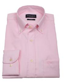 Overhemd 100% katoen, uni pink, button down kraag, lange mouw, (196076)