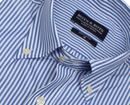 Overhemd 100% katoen, 2ply,  Classic streep, button down kraag, lange mouw, (196066)