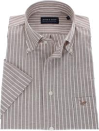 Overhemd korte mouw,  70% cotton 30% linnen, bruine streep, Button down kraag