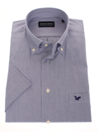 Overhemd korte mouw, 100% katoen, Button down, classic navy streepje