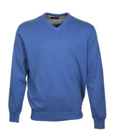 Pullover V-hals, 100% katoen, jeans blue (194627)