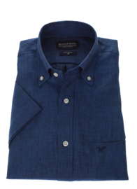 Overhemd 100% linnen, navy, button down, korte mouw 207004