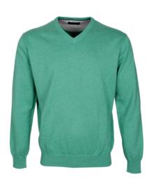 Pullover V-hals, 100% katoen, green (194625)