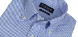 Overhemd 100% katoen, button down kraag, blauw streepje, (196069)